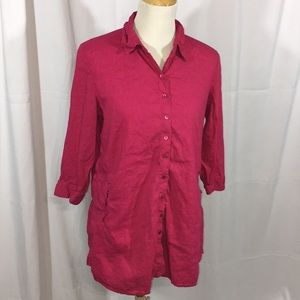 Eileen Fisher solid hot pink tunic blouse linen M